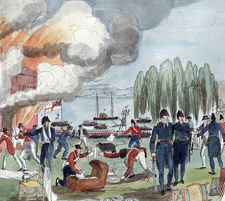 Painting depicting War of 1812