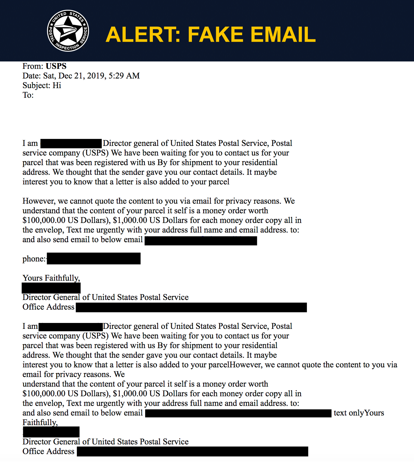 Fake Usps Emails United States Postal Inspection Service